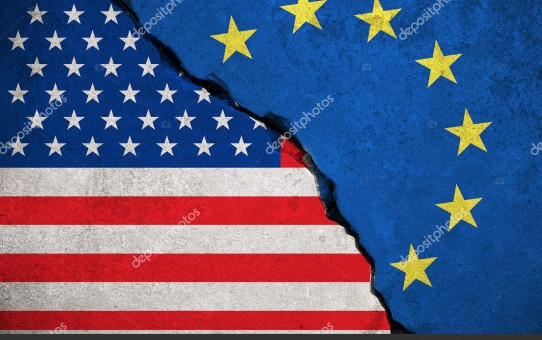 blue european union EU flag on broken wall and half usa united states of america flag, crisis trump president and europe euro concept
